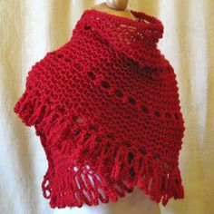 #Romantic #Red #Shawl - Knitted & Crocheted Lace by #KnittingGuru