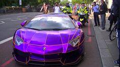 Glow-in-the-dark Lamborghini Aventador towed by London police