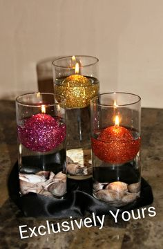 Sparkling Glitter Ball Candles, Unscented Candles, Home Decor by ExclusivelyUrs, $5.50