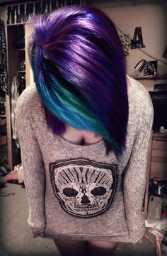 purple, green, blue. Hair colors, colorful hair, two toned hair...and the shirt