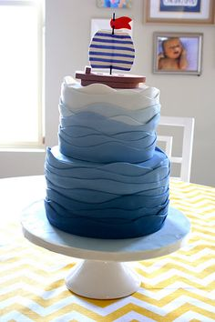 Nautical cake. Perfect for Crew's first birthday the wave, birthday parties, sail boats, boy birthday, nautical theme, themed cakes, sailboat, little boys, birthday cakes