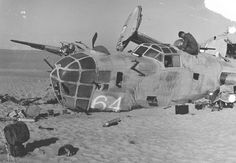 "Nose view of Consolidated B-24D ""Lady Be Good"" crash site. (U.S. Air Force photo)"