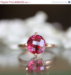 Fall Big Sales - Pink Tourmaline Ring in 14K Rose Gold - Ready to Ship