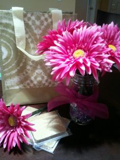 last years' end of year teacher gifts - flower pens (made w/floral tape) in mason jar, note pads/cards, reusable bag