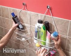 Hang shower shelves from cabinet knobs. If you need more than shampoo and a bar of soap in the shower, here's how to provide space for all your vital beauty potions: Get a couple of those shelves that are designed to hang from a shower arm and hang them on cabinet knobs. Use No. 8-32 hanger screws to screw the knobs into studs or drywall anchors.