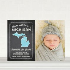 State of Birth: Sky - Midwest - Boy Photo Birth Announcements in Sky | Sarah Hawkins Designs