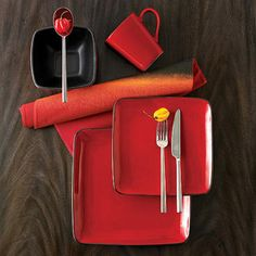 Hometrends Rave 32-Piece Square Dinnerware Set, Red.... NEED