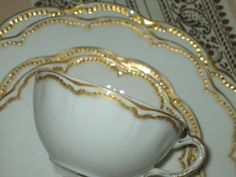 1880s+HAVILAND+LIMOGES+Cup+&+Saucer+Double+GOLD+by+Coloradofinds,+$14.99