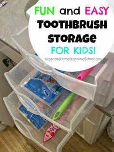 Easy Way To Store Kids Toothbrushes - OrganizedHomeOrganizedSchool.com