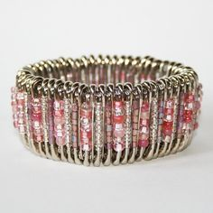 safety pin bracelet with beads, from http://www.etsy.com/listing/74718395/blush-safety-pin-bracelet