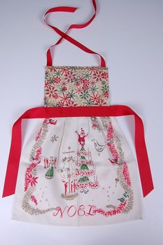 Christmas Vintage Apron  hand crafted from antique table cloth and napkins