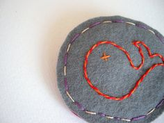 Little whale brooch embroidered on felt #etsy #jewelry #brooch #handmade