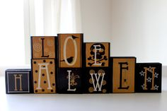holiday, halloween decorations, idea, diy halloween, halloween block, diy gift, halloween crafts, wood blocks, halloween diy