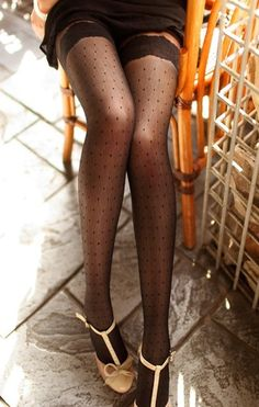 lace dot thigh highs