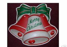 Vintage Christmas Blow Mold ~ Glolite Merry Christmas Bells * Circa, 1950's