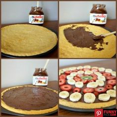 Fruit Pizza with Nutella and Cookie Dough Crust...this only takes about 20 minutes from start to finish!