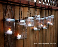 Mason Jar Lanterns Hanging Tea Light by TheCountryBarrel on Etsy, $42.00