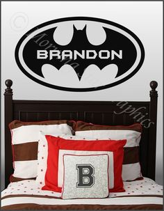 "Kids Room BATMAN (Personalized with Name) Large Vinyl Wall Art Decal 38"" x 22"". $29.95, via Etsy."