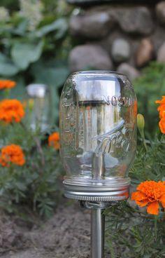 Solar lights in mason jars.