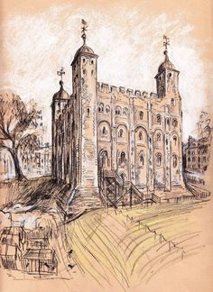 The White Tower – construction began at the order of William the Conqueror in 1078.    Drawings copyright ©Joanna Moore