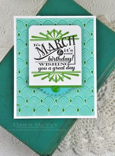 March Birthday Card by Dawn McVey for Papertrey Ink (March 2014)