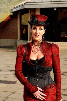 Like the fringe trim on  jacket. RED! Victorian Streampunk