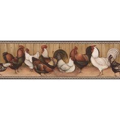 """allen   roth 6-3/4"""" Black And Brown Rooster Prepasted Wallpaper Border"""