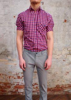 Johnny Love Short Sleeve Check Shirt (Purple): $150