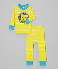 Another great find on #zulily! Yellow & Blue Stripe Lion Pajama Set - Infant & Toddler #zulilyfinds