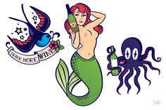 I love the mermaid holding champagne & the octopus!