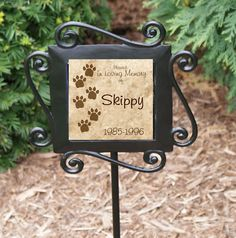 Personalized Dog Cat Memorial Garden Stake - Ceramic Tile set in a Wrought Iron garden stake. $26.95 + shipping