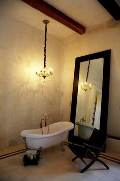chandelier above tub