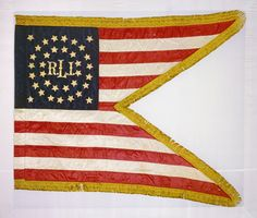 The North Carolina Museum of History has returned a Civil War flag of Company L, First Rhode Island Cavalry to its home state. The V-shaped flag, called a guidon, was captured by the 63rd North Carolina Troops (Fifth North Carolina Cavalry) on June 17, 1863, during the Battle of Middleburg, Virginia. (no, this is NOT Ralph Lauren's flag! ^.^ ) It is a pretty guidon.