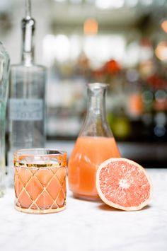 Greyhound cocktail - vodka and grapefruit juice // photo by White Loft Studio // styling by Valentine // view more: http://ruffledblog.com/sweet-valentine-wedding-inspiration