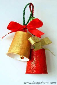 diy ideas, craft kids, christmas crafts, christmas bells, jingle bells, k cups, christmas paper, kid crafts, paper cups