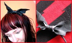 You've got a bat in your hair! Well, actually a headband, but it sounded so much better the other way! #halloween #hair #head_band #hair_bow #ribbon #diy #crafts