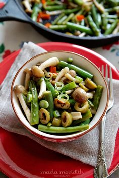 Green Beans with Beech Mushrooms & Olives | A Perfect Side Dish