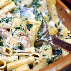 Grilled Chicken Rigatoni Florentine. I'd replace the sour cream with cream cheese.