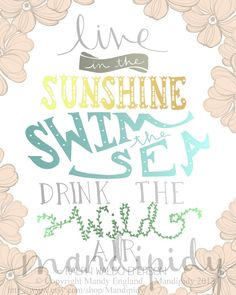 Live In the Sunshine - Emerson Quote - Vintage Typography - 8x10 Illustrated Print by Mandipidy on Etsy, $17.50