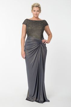 Metallic Lace and Draped Jersey Gown in Duchess Grey | Tadashi Shoji Fall / Holiday Plus Size Collection