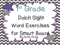 First Grade Dolch Sight Word Activities for SMART board or Promethean board (Common Core and TEKS based activities).