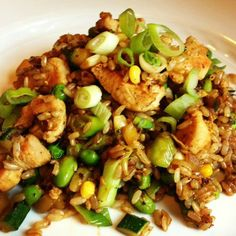 Brown Fried Rice with Chicken and Veggies