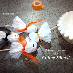 make ghost suckers with coffee filters - NoBiggie.net