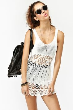 Boardwalk Crochet Dress - White in What's New at Nasty Gal