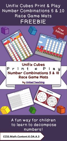 Unifix Cubes Print & Play Number Combinations 5 & 10 Race Game Mats Freebie >> United Teaching