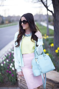 Pink Peonies' perfectly pastel outfit along with our chain collar necklace