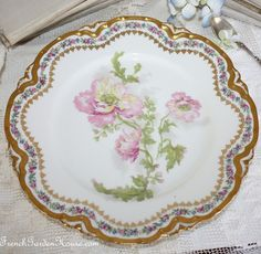 French Haviland Hand Painted Limoges Cabinet Plate Pink Poppies