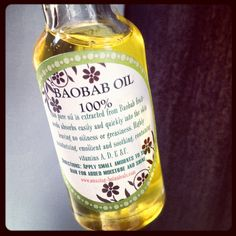 Available at www.amazing-botanicals.com  $10 Here are just some of the many benefits of baobab oil:  -Moisturizes dry skin -Dramatically improves skin tone -Reduces signs of aging -Heals acne, and scarring from acne -Heals scars and stretch marks -Heals eczema and psoriasis -Can be used in soapmaking -Can be used as an intensive hair conditioner -Can be used as a hot oil treatment  -Conditions cuticles and nails