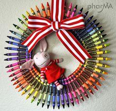 art party, crayon wreathgreat, teacher gifts, front door wreaths, front doors, crayons, teachers, parti, crayon art