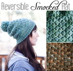 $5 Reversible Smocked Hat pattern #knitting #pattern